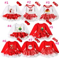 Wholesale Babies Gift Set - INS Baby girls Christmas printing Red dress 2ps sets crocheted bow headband+Xmas pattern romper Infants first christmas gifts cute outfits