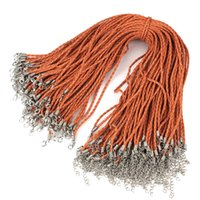 Wholesale Braided Cord Necklaces For Charms - 100pcs reddish orange PU Leather Cord Necklace for Pendant Charms Cord Beads Braid String Lobster Clasp Strap Rope 2.5mm 17inch