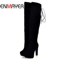 Wholesale Sexy Long Boots For Women - Wholesale-ENMAYER big size34-43 high Over-the-Knee boots for women Flock Tassel ladies long boots sexy winter shoes