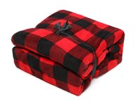 Wholesale Red Black Plaid Sleeve Blanket Snuggies Lazy Blanket Soft Comfy Coral Velvet Blanket Sofa TV Warm Factory Price