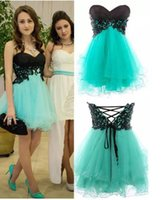Wholesale Turquoise Cocktail Homecoming Dresses - Turquoise Tulle Black Lace Sweetheart Short Homecoming Dress 2017 A-line Cheap School Party Dresses Short Prom Dresses Cocktail Dresses