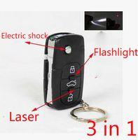 Wholesale Colour Laser - Flash Light Car Keychain Toy Mini Pocket Stun Gun Shock Powerful Electric Shock toy laser flashlight(Colour Black)