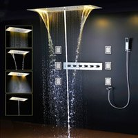 Wholesale Rain Shower Faucets - Luxury led rain shower Thermostatic Faucets SUS304 With Embedded Ceiling LED Shower Head 380x700mm Rainfall Mist Spout 4'' Body Jet