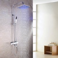 Wholesale Sensitive Led Faucet Bathroom - Thermostatic Exposed Bathroom Shower Faucet Set 10 Inch LED Temperature Sensitive Rainfall Shower Head Brass Hand Shower 2102