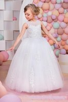 Wholesale Light Blue Discount Graduation Dresses - 2017 Discount Casual Floor Length Princess Tulle Jewel Sleeveless Appliques With Lace Up Back Flower Girl Dresses For Sale