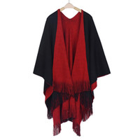 Wholesale Hooded Knit Batwing Cardigan - Wholesale- New Sweater Cardigans Women Winter Knitted Cashmere Poncho Capes Shawl Female Long Sleeve Cardigans Sweater Coat Oc17