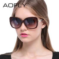 Wholesale Lady Sunglasses Wholesale - Wholesale- AOFLY Fashion Sunglasses Women Summer Style Lady Sunglasses Female Brand Design Square Gradient Glasses Big frame Goggles UV400
