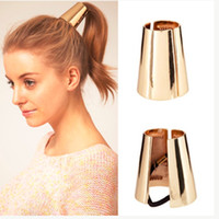 Wholesale Gold Hair Clip Ring - Gold silver Fashion Punk Rock Metal Circle Ring Hair Cuff Wrap Ponytail Holder Band Clip Claw Hot Sale Hair Jewelry for Women