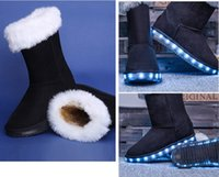 Wholesale Cheap Led Ribbon - New style fashion high quality hot sale cheap price flashing flat heel kids children LED snow boots shoes women LED snow boots EU25-40