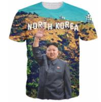 Wholesale Mens Casual Shirt Korea - North Korea Kim Jong Un Newest Design Womens Mens Funny Short Sleeves 3D Print T-shirt Summer Casual T-shirt S-5XLKK87