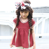 Wholesale Solid Color Vintage Summer Tops - Everweekend Cute Baby Girls Vintage Embroidered Cotton Tees Summer Candy Color Red and White Western Classic Blouse Tops
