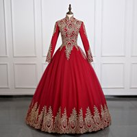 Wholesale Hijab Photos - Burgundy Muslim Long sleeve Wonderful Wedding Dress African Long Tulle Ball Gowns Hijab Saudi Arabia Bridal Dress Gold Appliques