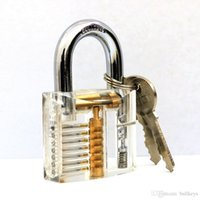 Wholesale Padlock Locker - Transparent Padlock 7 Pins Practice Clear Acrylic With Locker Master Key For Locksmith Lockpicking Practice Tools