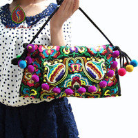 Wholesale Hmong Bags - Wholesale- Best Selling Hmong embroidery Women handbags Vintage Fashion Cover Pompon Small bells shouder messenger bags Ethnic small bags