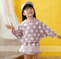 Wholesale Bat Girl Outfit - 2017 Autumn New Girls Sets Polka dot bat sleeve tops+Skirt Fashion Outfits Children Clothes 2-7Y 30655