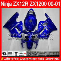 ingrosso corredi zig-zag abs zx12r-8Gifts 23Colors Per KAWASAKI NINJA ZX 12 R ZX12R 00 01 02 03 51HM5 ZX1200 C ZX1200C ZX 1200 ZX 12R ZX-12R 2000 2001 Kit carena Blu lucido