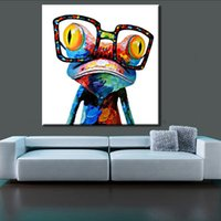 Wholesale Painted Glass Art - Wall Art Canvas Spray Painted Animal Oil Painting Cartoon Frog With Glasses Unframed Abstract Canvas Art For Home Decoration 50*50Cm