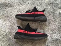 Wholesale Outdoor Shoes Bag - Top Factory 350 V2 Sply Core Black Red BY9612 Limited Big size 36-46.5 Real Boost 350 With Receipt Box Socks Bags Kanye West Running Shoes