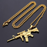 Wholesale counter strike guns for sale - Group buy New Arrival Gold Plated Sniper Rifle Pendant Necklace Alloy Counter Strike Games Sniper Rifle Gun Model Pendants For Men