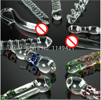 Wholesale Adult Toys Double Dong Dildo - Wholesale-Classic Large big Double Dong ended headed Glass Dildo Pyrex crystal penis Gay Anal Adult Sex toys for women Female masturbation f