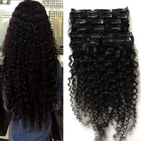 Wholesale clip in human hair extensions - Peruvian clip in hair extensions g g kinky curly african american clip in human hair extensions