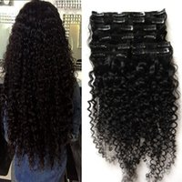 Wholesale Hair Extensions African Americans - Peruvian clip in hair extensions 100g 100g 8pcs kinky curly african american clip in human hair extensions