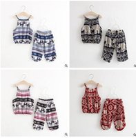 Wholesale Elephant Vest - Baby Girls Clothing Outfits Summer Bourette Elephant Printed Girls Clothing Sets Vest Pants 2 Piece Suit Infant Toddler Outwear Sets