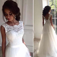 Wholesale lace front corset wedding dresses resale online - 2017 Modest Lace Wedding Dresses Scoop Tulle Princess Corset Backless Country Wedding Gowns Beach Wedding Dresses With Sash Sweep Train
