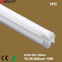 lámpara de 85 lúmenes al por mayor-Luz LED T8 Tubo de luz LED 2ft 600mm 10W Lámpara fluorescente 110v 220v AC85-265V CRI 80 de alto lumen, precio de fábrica