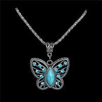 Venda Por Atacado Antique Pendant Pendant Necklace Crystal Butterfly Turquoise Long Necklace Sweater Chain TL186 FREE SHIPPING