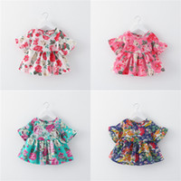 Wholesale Summer Flower Dresses Children Beach - Baby Girls Dresses Floral Print Beach Dress Kids Vintage Peony Flower Princess Short Skirt 2017 Summer Children Clothes Hot Sale Free DHL 73