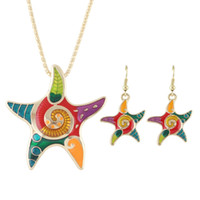 Wholesale Earrings Hearts Star - New Arrivals Colorful Enamel Star Shape Pendant Necklace Drop Earrings Set