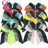 Wholesale Leopard Ribbon Wholesale - 6Colors Leopard Ribbon Cheer Hair Bow With Elastic hair Bands 30Pcs lot Unique Cheerleader Ribbon Bow For Girls Free Shipping