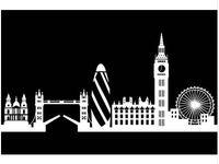 calcomanía de londres al por mayor-Moderno Dctop City Building London Skyline Silhouette Etiqueta de la pared Big Ben Landmark Vinyl Mural Decal Living Room Wall Art Home Decor