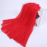 Wholesale Chinese Apparel Wholesalers - Wholesale- Helisopus Fashion Women Charm Latest Solid color Long Cotton Wrap Soft Warm Chinese Red Lady Scarf Shawls Apparel Accessories