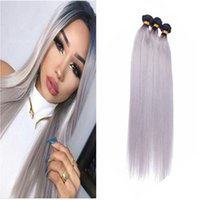 8A Ombre 1B Grey Malha Straight Hair 3 Bundles Two Tone Wholesale 100% Cabelo Humano Unprocessed Cheap Peruvian Sliver Grey Weave
