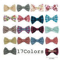 """Wholesale Diy Hair Styling - Baby 2.5"""" New Style DIY Print Fabric Hair Bow For Girls Kids Sweet Hairgrips High Quality Hair Accessories 34 Pcs Lot"""