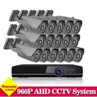16-кратная система cctv оптовых-NINI AHD 1080P 16CH CCTV DVR System закрытый наружный 960p 2500TVL 1.3MP ИК-камеры DVR Kit System HDMI 1080P NVR 3g wifi