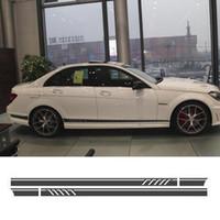 Wholesale Type Skirts - Sporty Side Stripe Skirt Sticker Decal for Mercedes Benz C63 C180 C260 W205 W203 CLA 180 200 250 300 350 45 GLA X156