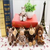 Wholesale Nici Giraffe - Wholesale- 5pcs14cm to 15cm pendant keychain Germany NICI Jungle Brother Tiger Elephant Monkey Lion Giraffe Plush Animal Toy Free Shipping