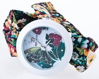Wholesale cheap clothes fabric - factory wholesale cheap price fashion colorful flower clothing strap watches for women lady girls free shipping