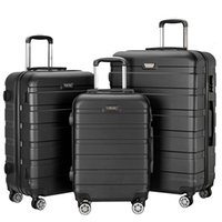 """Wholesale 24 Spinners - 3 Piece Lightweight Carry on Luggage Set Spinner Suitcase ABS School 360 Degree Rotating Wheels Rolling Trolley (20"""", 24"""", 28"""") with Lock US"""