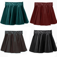 Wholesale Leather Flared Mini Skirt - High quality New Women Faux Leather Skirt High Waist Flared Pleated Short Mini Skirt 10pcs lot BC534
