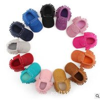 Wholesale Purple Baby Crib - Newborn Shoes Tassel Girl Boy Toddlers Baby Moccasin Soft Crib Shoes Anti-slip Footwear Prewalker Shoe First Walkers Free Shipping DHL