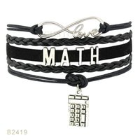 (10 Unids / lote) Infinty Love Math Calculator Charm Bracelet Leather Wrap Negro Rosa Menta Azul Light Blue Pulsera Envío de la gota