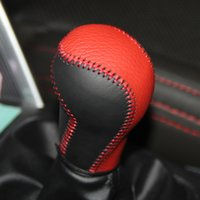 Wholesale Mazda Gear Shift Knobs - XuJi Black Red Genuine Leather Gear Shift Knob Cover for Mazda CX-5 CX5 Automatic