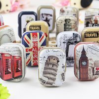 Wholesale Decorative Metal Pieces - New Hot Small Tin Box Handbag Pill Storage Jewelry Decorative Tin Box Metal Candy Earphone Ring Christmas Gifts Boxes Tea Box 32pcs lot