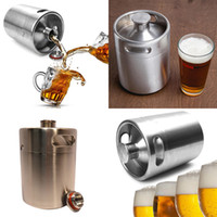 Wholesale 2l Flask - Stainless Steel 2L Flagon Hip Flasks Mini Beer Bottle Barrels Beer Keg Screw Cap Beer Growler Homebrew Wine Pot Barware Party Tool WX-C07
