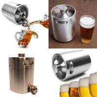 Wholesale Keg Barrel - Stainless Steel 2L Flagon Hip Flasks Mini Beer Bottle Barrels Beer Keg Screw Cap Beer Growler Homebrew Wine Pot Barware Party Tool WX-C07