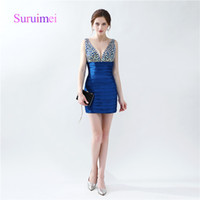 online Shopping Mini Dress for Spring - Mint Sexy Cocktail Dresses Short Styles V Neck with Crystal Sheath Prom Gowns Robe Soiree For Pageant Occasion Dresses